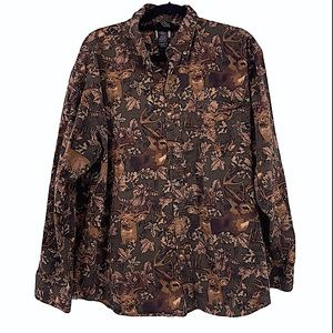 Winchester deer print button up size large men's